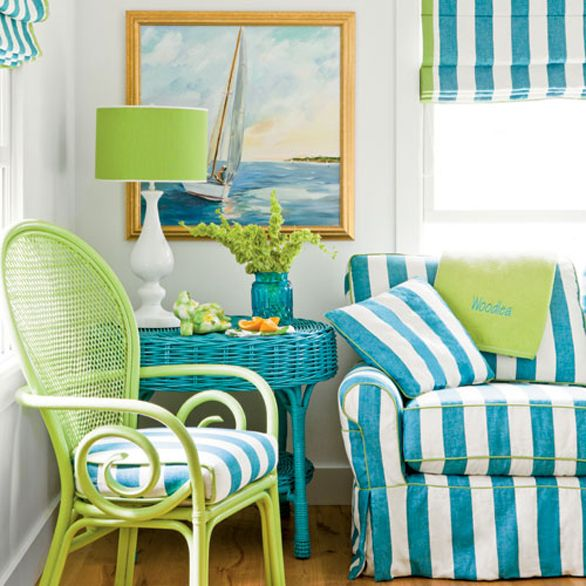 I love this space!   Dana Small - turquoise and lime fun color for a summer cottage or sun room