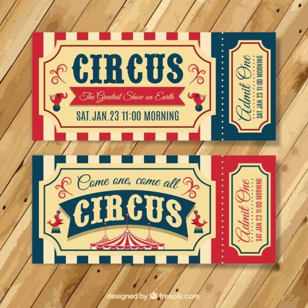 Bilhetes do circo do vintage Vetor grátis
