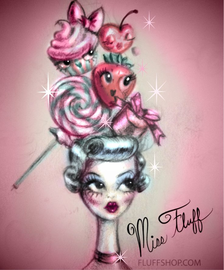 ♥ Cupcake and Candy Fantasy Hat! ♥ original sketch by Miss Fluff (Claudette Barjoud) of the designer brand, Fluff! fluffshop.com