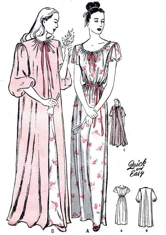 1940s Nightgown Pattern Butterick 3892 Womens Maternity Nightgown and Negligee Vintage Sewing Pattern Bust 36
