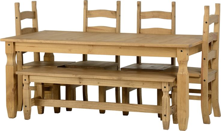 sales@spt-furniture.com  Corona 6' Dining Set With 5' Bench And 4 Chairs Distressed Waxed Pine  Assembled Sizes(MM) 1820 x 920 x 755 425 x 470 x 1070 1525 x 380 x 46   PINE Extra Information TABLE TOP THICKNESS 25MM TABLE LEG THICKNESS 85MM HEIGHT OF TABLE FRAME H635 SEAT PAD SIZE W425 D445 SEAT PAD HEIGHT H455 BACKREST HEIGHT H615 BENCH TOP THICKNESS 25MM BENCH LEG THICKNESS 55MM