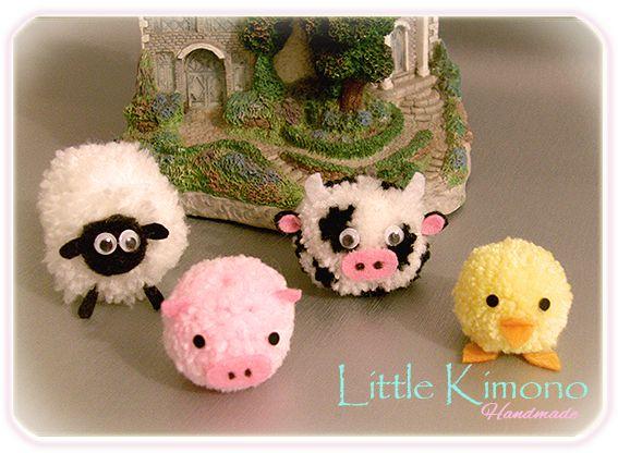❣ Little Kimono Handmade ❣ : Pompones animales de granja · RETO Iregumy