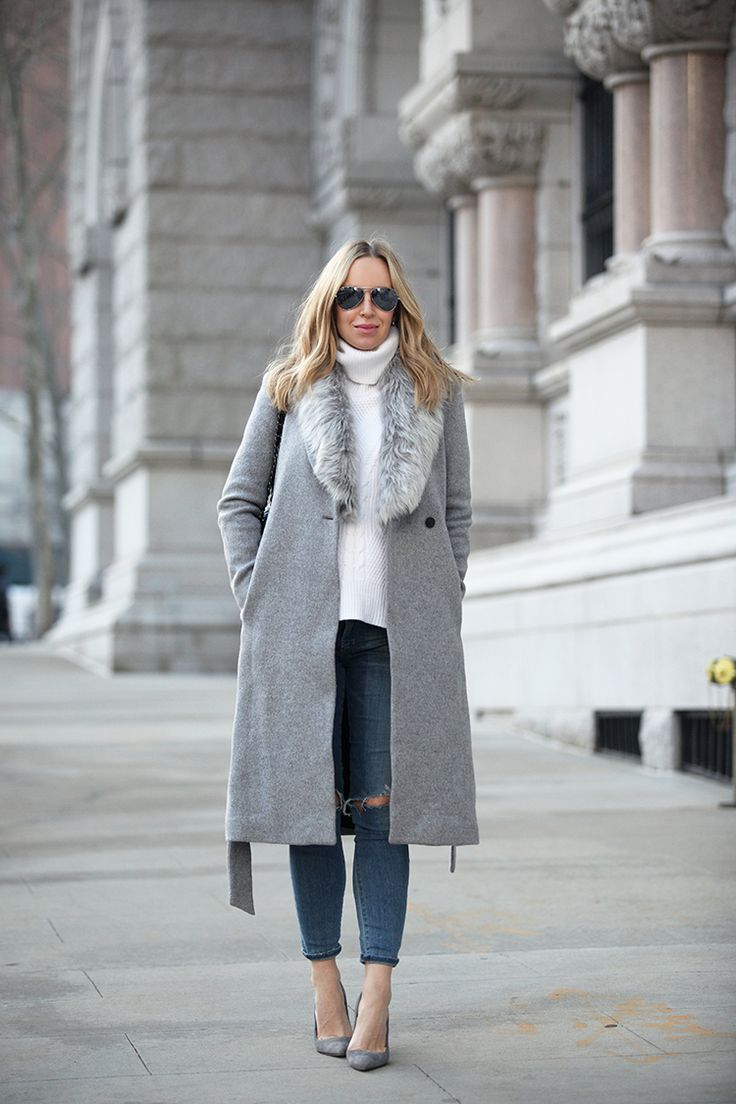 A grey faux fur collar like this one will create an aesthetic of smart chic when worn with a matching grey overcoat, a cream sweater, and jeans. Via Helena Glazer. Coat: Club Monaco, Sweater: Premonition, Denim: Citizens of Humanity, Shoes: Manolo Blahnik, Sunglasses: Ray Ban.