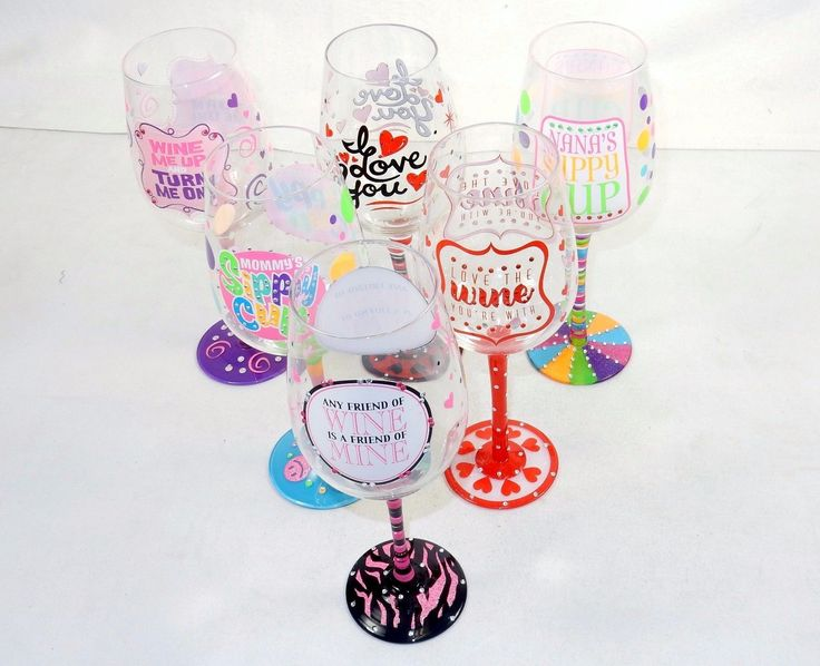 Novelty Wine Glass ~ Fun Quotes Hand Painted On Glass W/Rhinestones