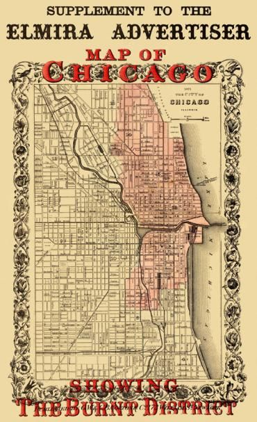 """Map of Chicago Showing the """"Burnt District"""" - the Chicago Fire of 1871"""