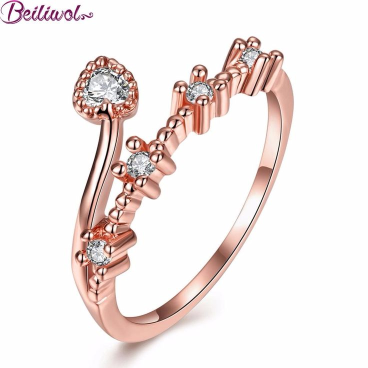Ring for Women Rose Gold Plated Rhinestone zircon Crystal heart Style Jewelry Women's Rings christmas gift