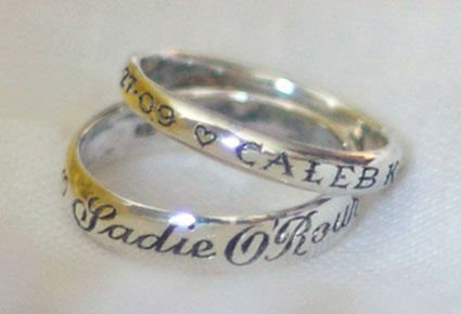 Mother's Baby Name Ring by loveandvictory: Hand engraved with her children's names and birth dates. #Baby_Name_Ring #loveandvictoryBaby Names, Babynames, Mothers Baby, Mothers Rings, Names Rings, Baby'S Names R Loveandvictori, Cool Ideas, Kid Names, Hands Engraving