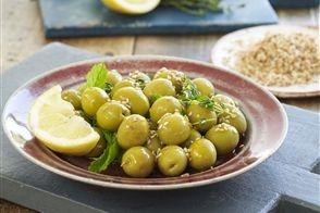 Green olives, sesame seeds, lemon juice and mint recipe | Recipes ...