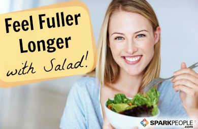 Research shows that this specific salad recipe can help you eat less! Click for details! | via @SparkPeople #diet #food #lunch #nutrition