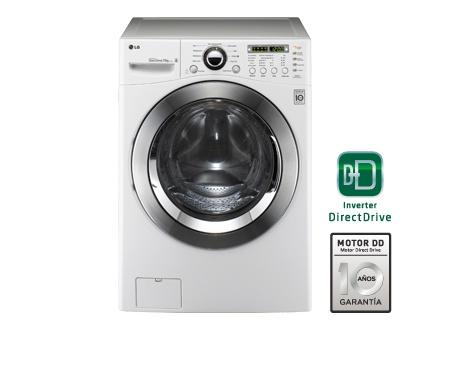 lavadora blanca con la mxima eficiencia energtica y mximo ahorro gran capacidad hasta 15 kg motor direct drive y 10 aos de garanta slo en lg