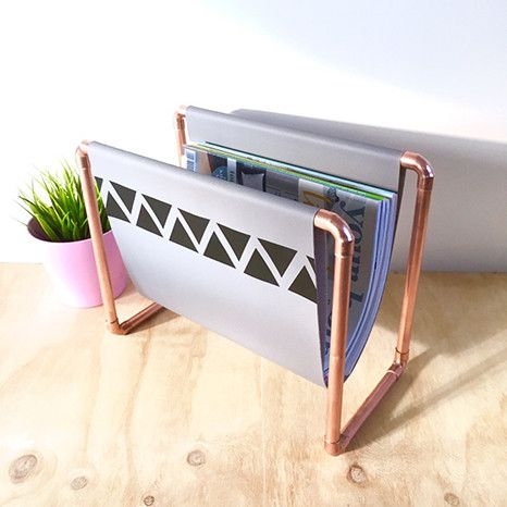DIY Kit: Copper Magazine Rack - grey fabric with black triangles in a geometric pattern