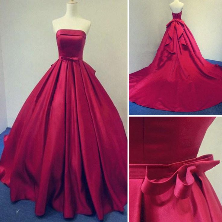 Strapless A-line Long Satin Prom Dresses Floor Length Party Dresses Custom Made Women Dresses
