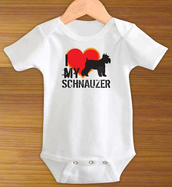 Your baby is going to look dog gone adorable in the I Love My Schnauzer Dog Funny One Piece Bodysuit Shirt, so dont be surprised if he or she fetches a