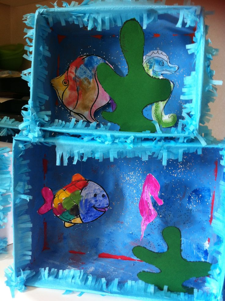idée d'encadrement d'aquarium fait dans une boîte à chaussure