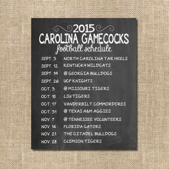 South Carolina Gamecocks 2015 Football Schedule Chalkboard Print by SBWDesignStudio