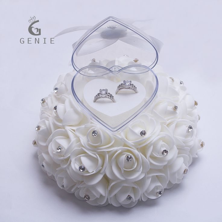 Genie Cake Shape Rose Flowers Ring Box Romantic Wedding Jewelry Case Ring Bearer Wedding Pillow Cushion Decor Ring boxes 2017 #Affiliate