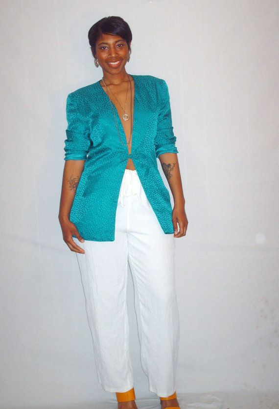Vintage 1990s Silk Turquoise Blazer by OliviasButterfly on Etsy, $32.00