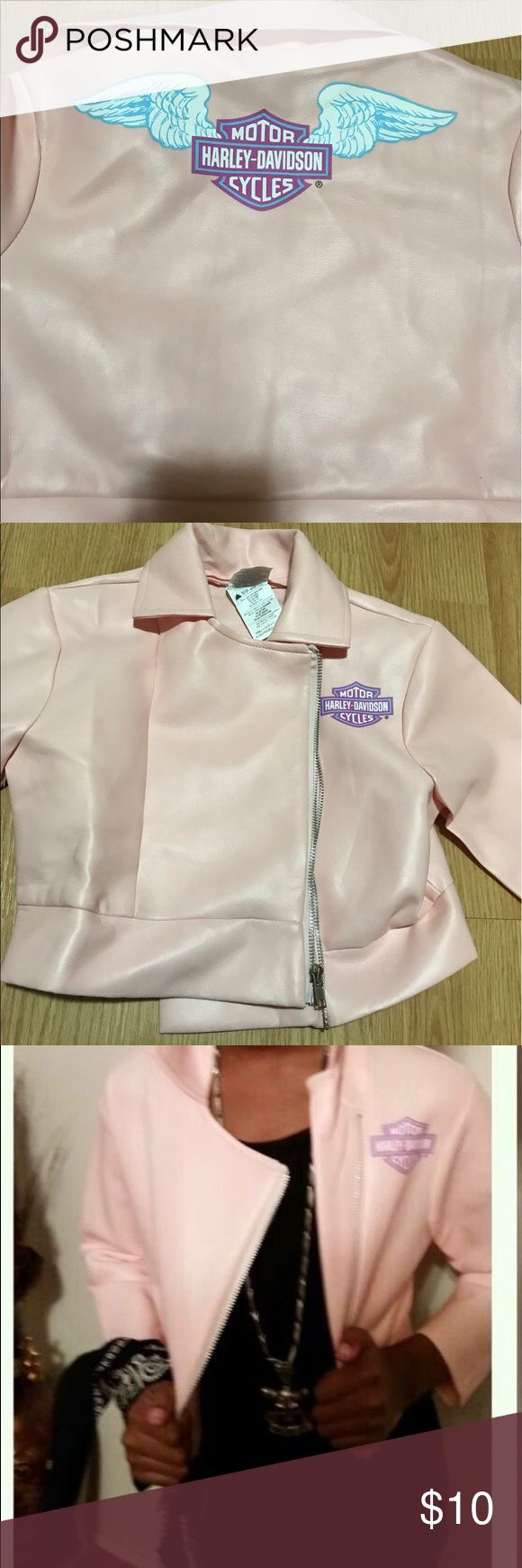 Girls Harley Davidson Jacket Gently used light pink jacket. This is NOT a real leather jacket. This was a part of my daughter's *HalloweenCostume*. Super cute tho. 😊 Harley-Davidson Jackets & Coats