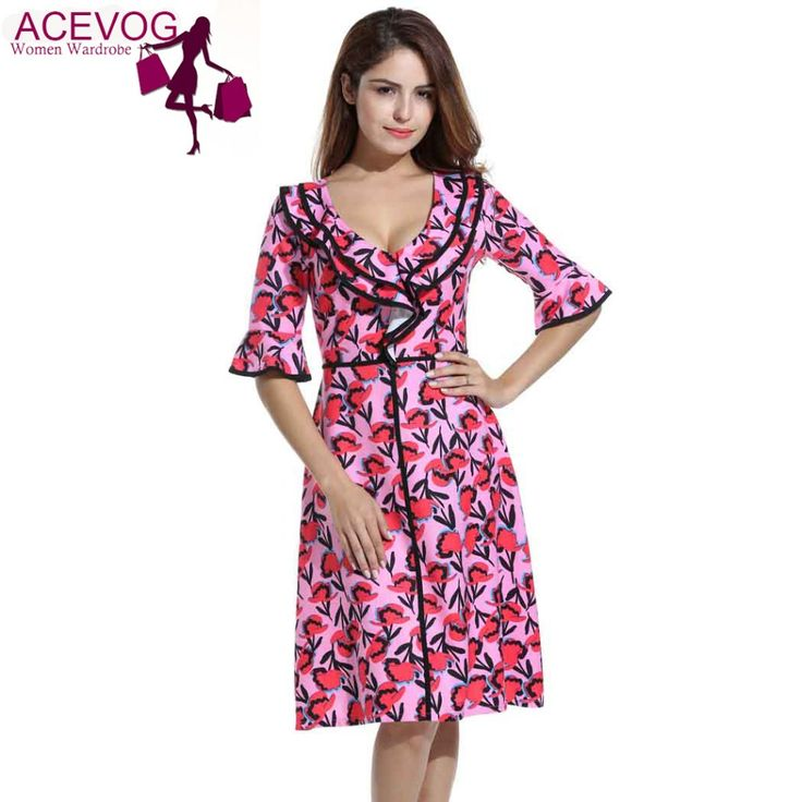 ACEVOG Women Autumn 3/4 Sleeve Ruffles Deep V-Neck Fit Flare High Waist Dress Vintage Style Printed A-Line Pink Dress Mid-Calf #Affiliate