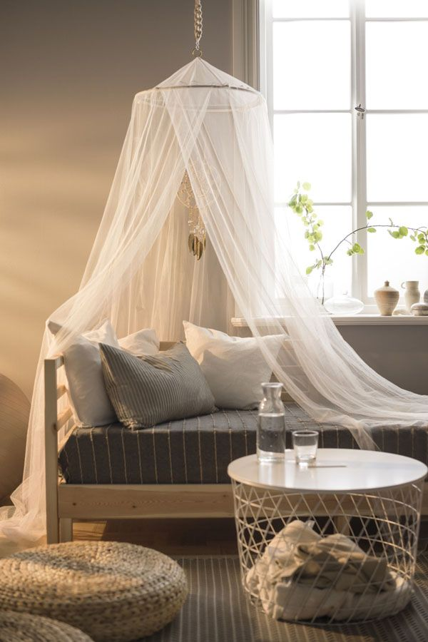 Transform your bedroom! Add an IKEA BRYNE net over your bed to add ambiance and style to your space.