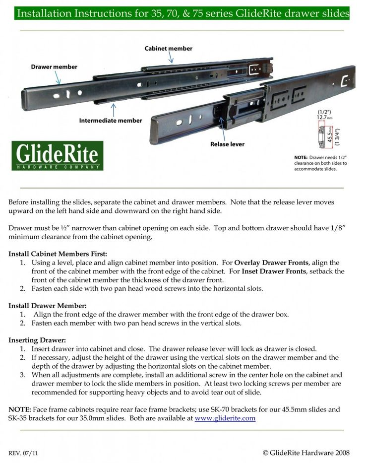 Installation Instructions for Side-Mount GlideRite Drawer Slides - GlideRite Hardware