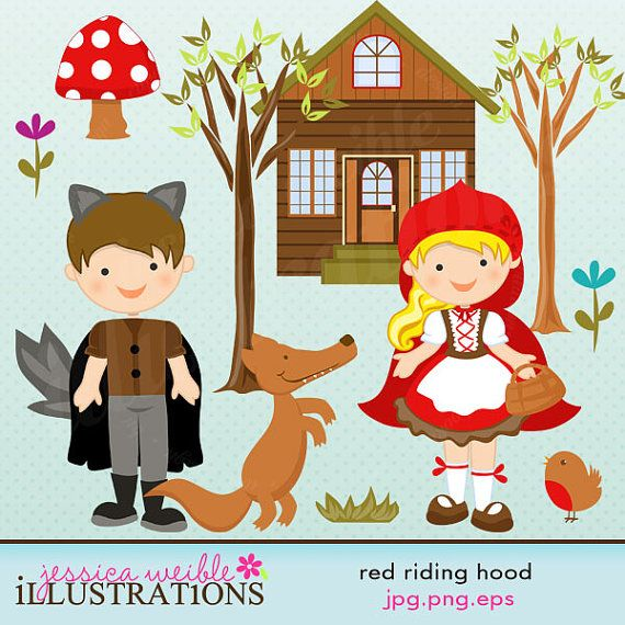 Red Riding Hood Cute Digital Clipart for Card by JWIllustrations, $5,00