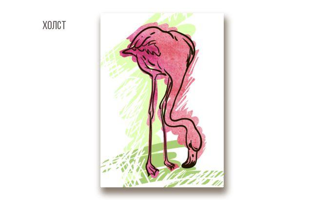 "Холст ""фламинго акварельный"", от художника Olga Berlet. 220 грн #canvas #flamingo #artlook"