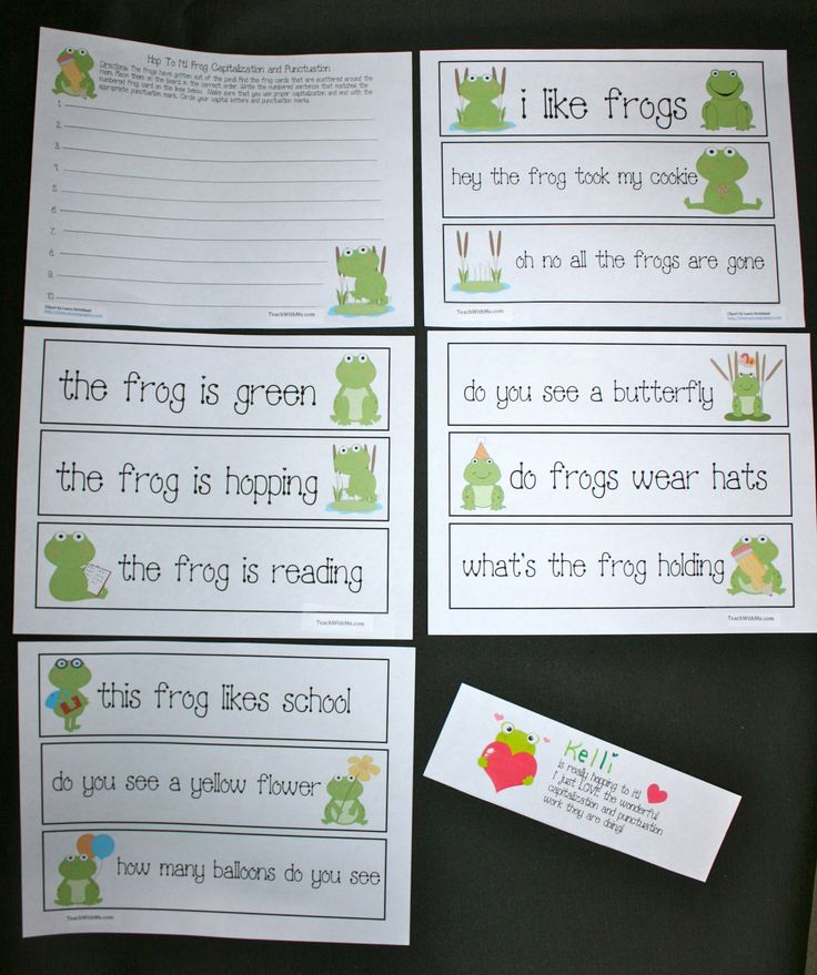FREE frog grammar packet. Students write the sentences on their recording sheet, capitalizing the first word and include ending punctuation. Includes directions for game, + a certificate of praise. I have a FREE bear, cat, dinosaur, and pig packet too. Common Core Standard RF.1.1
