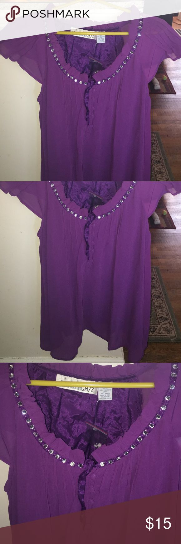 I just added this listing on Poshmark: Denim 24/7 GREY Purple rhinestone shirt ~ light. #shopmycloset #poshmark #fashion #shopping #style #forsale #Denim 24/7 #Tops