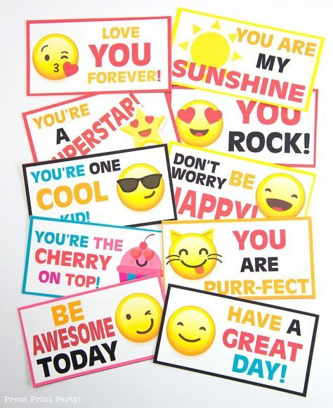 Download your Free Emojis Lunch Box Cards by Press Print Party! Lunch Box Notes, lunchbox notes, girls lunch box notes, boys lunch box notes, lunch box ideas
