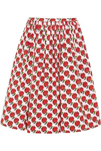 Prada - Printed Stretch-denim Skirt - Red