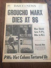 Groucho Marx Dies! Original 1977 New York Daily News Newspaper