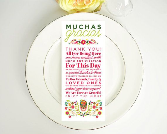 Gracias, Thank You, Wedding Thank You, Spanish Thank You, Destination Wedding, Festive, Any Color, Day of the Dead, Digital, Menu Card