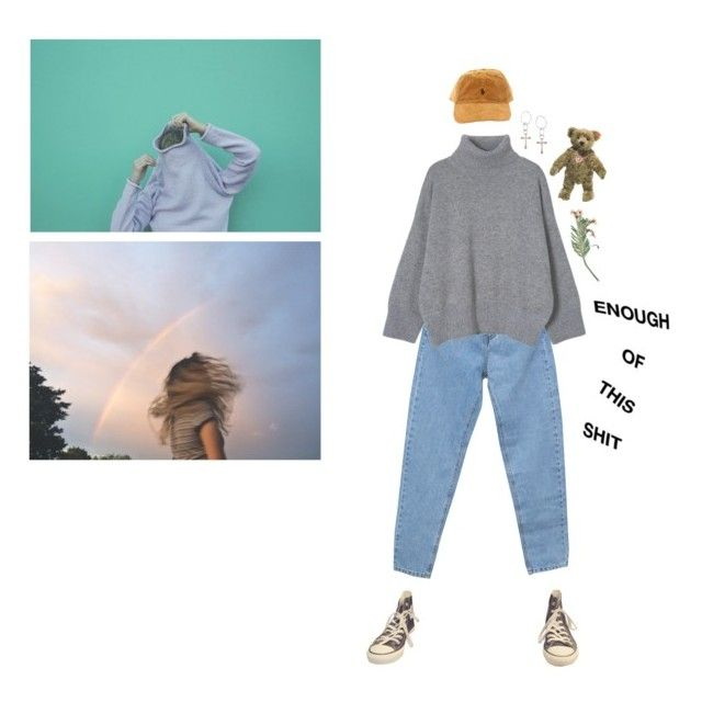 """e n o u g h"" by ghostkid ❤ liked on Polyvore featuring Pull&Bear, Converse, Lucky Brand, Steiff and vintage"