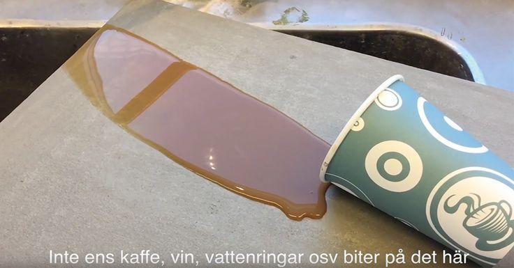 Fläckskydda betongen mot kaffe, vin, vattningar och smuts. Snart en hel video i ämnet!