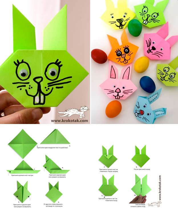 * Paashazenhoofd origami, laar eronder een lijfje tekenen, vouwen.