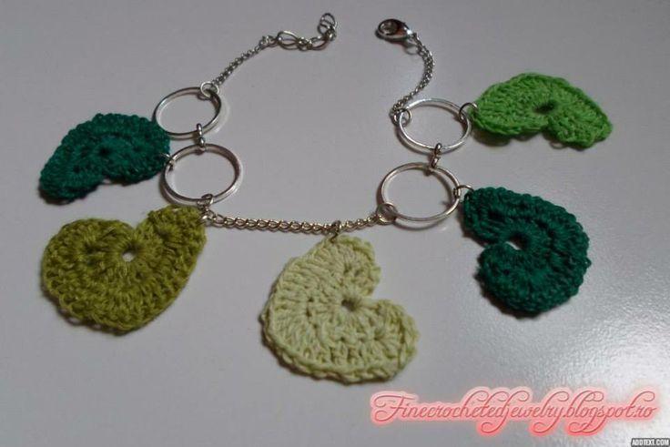 Crochet green heart bracelet