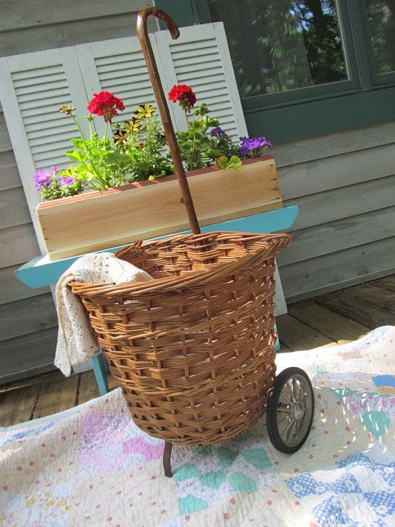 Vintage Wicker Basket Market Cart Shabby French by PerfectPieLady