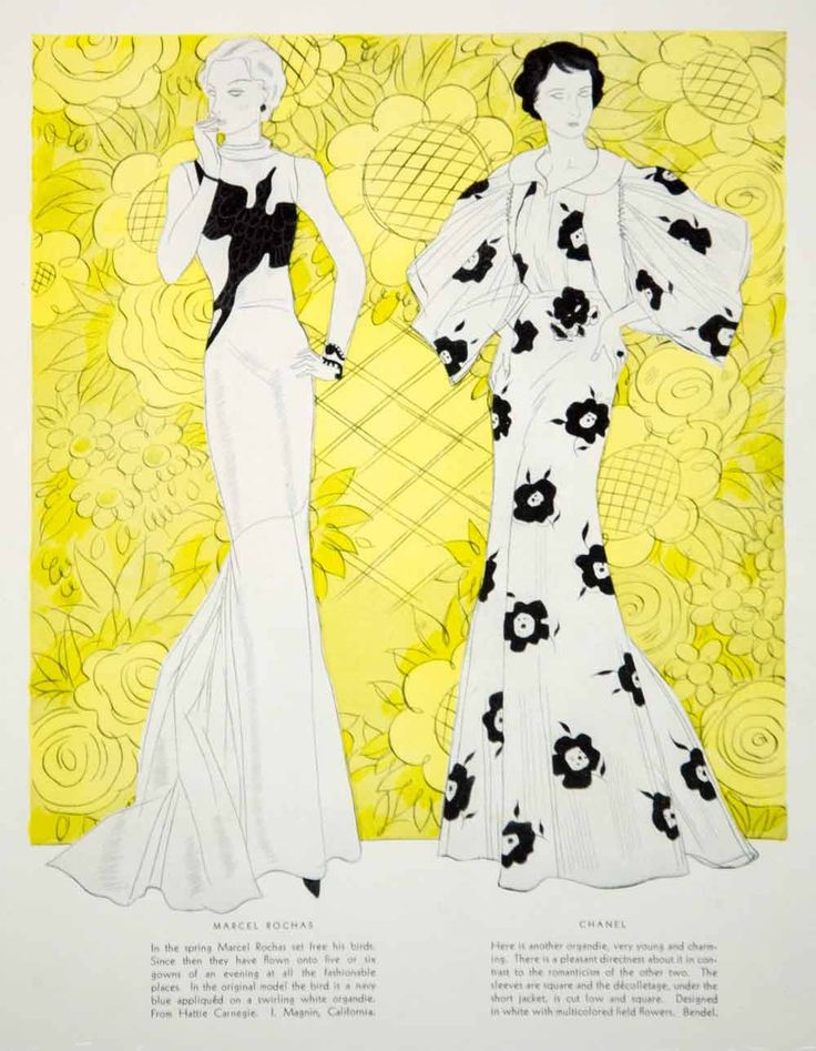1934 Color Print Vintage 30s Evening Dress Maggy Rouff Marcel Rochas Chanel YHB3 - Period Paper - 2