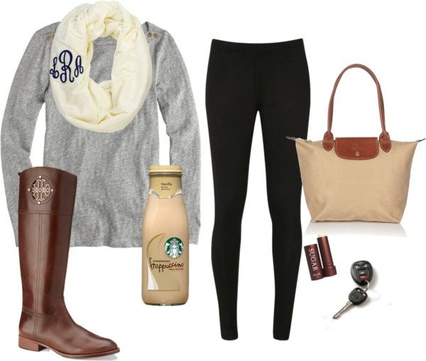 Basic white girl outfit. Starbucks, yogas, something monogrammed, and tori Burch. Check out Dieting Digest