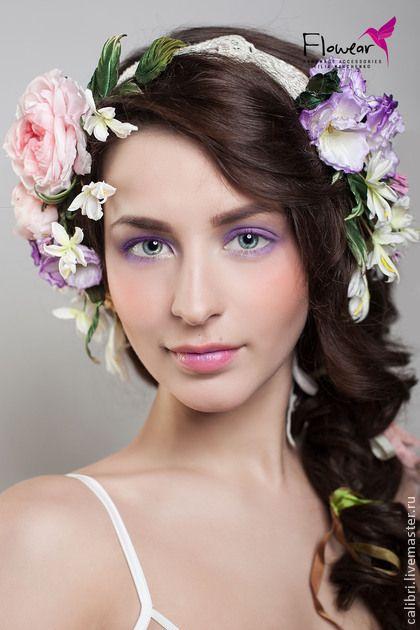Венок на голову - ТАЛЬОНИ по мотивам аксессуаров XIX в. - коралловый,цветы из шелка