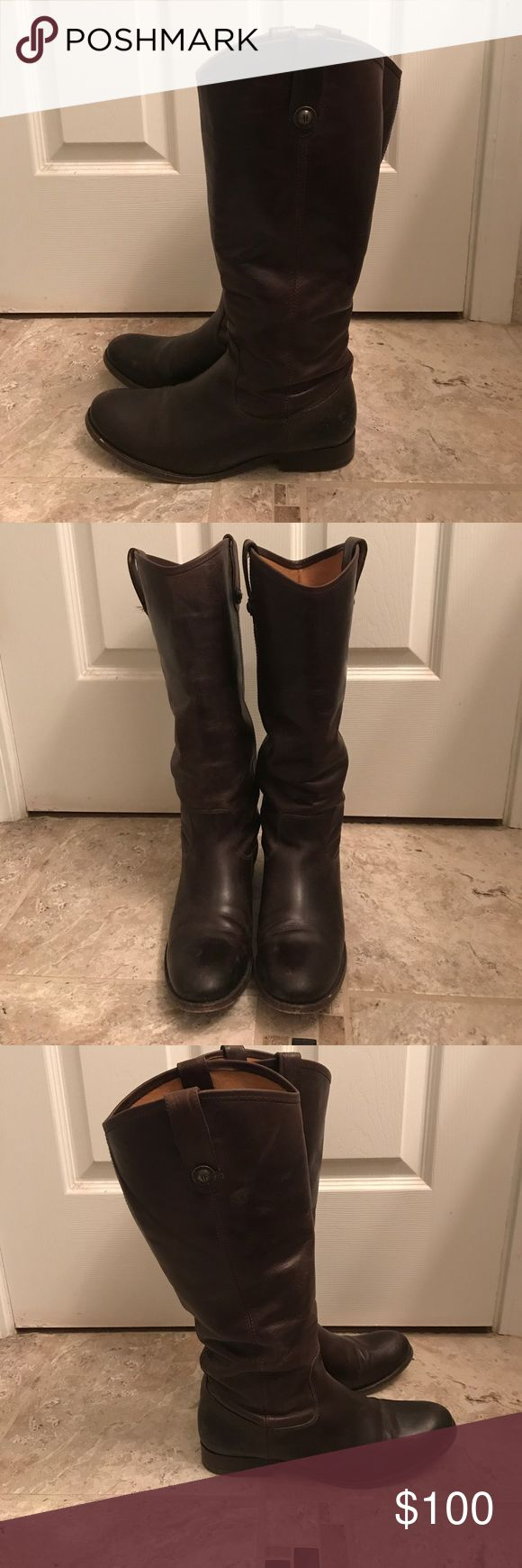 Frye Melissa Boots in Chestnut Frye Melissa boots in dark brown. Good condition with minor spots that need buffing Frye Shoes Heeled Boots