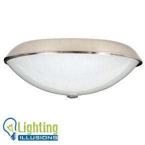 Universal Ceiling Fan Oyster Light Kit Range - Brushed Chrome