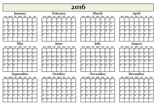 Free printable annual calendar 2016 includes all months plain calendar inAdobe PDF format for download