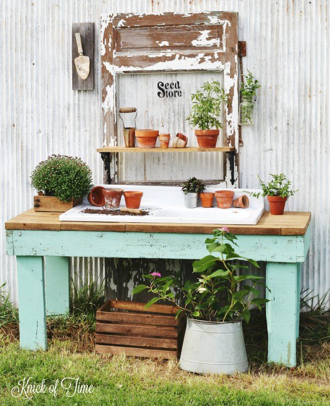 Repurposed antique table into farmhouse potting bench - www.knickoftime.net