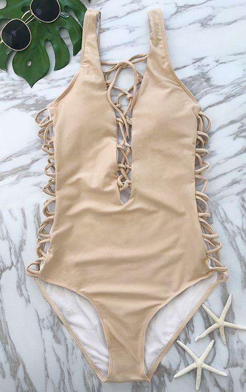 3f41fc15dd75 Lace Up Solid Color Criss Cross One Piece Bikini in 2019