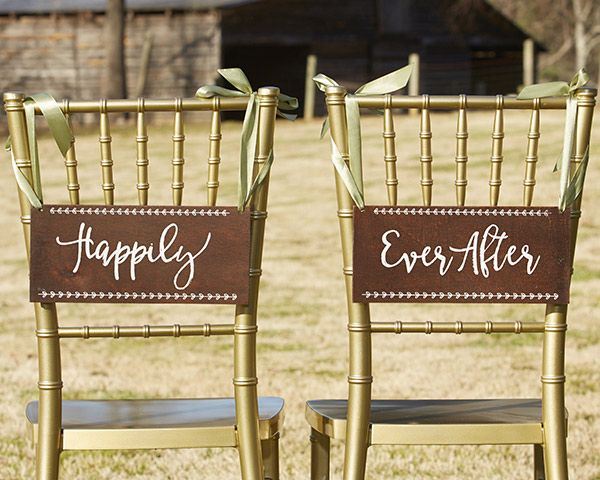 Perfect for a rustic wedding or outdoor garden wedding, these signs add just the perfect touch to the bride and grooms chairs! | Happily Ever After Chair Signs