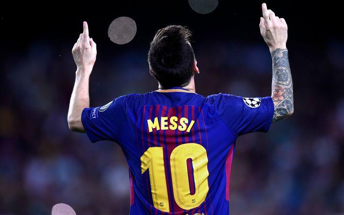 Download wallpapers Lionel Messi, goal, Barcelona, Spain, T-shirt, 10 number, La Liga, Leo Messi, Argentina