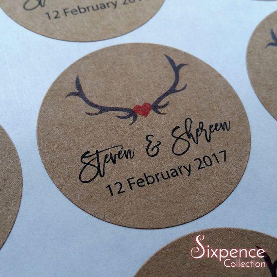 Rustic Deer themed Kraft Brown Wedding Favour Envelope Sticker