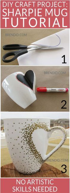 DIY Craft Project: Sharpie Mug Tutorial - Custom heart handle mugs that require…Download my Free Valentines Day Printable Card from here http://www.sewinlove.com.au/2016/02/05/free-valentines-day-card-funny/